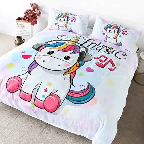 Blessliving 3 Pieces Unicorn Duvet Cover Unicorn Cartoon Wearing Headphones Teen Room Decor Watercolor Girls Unicorn Bedding Full