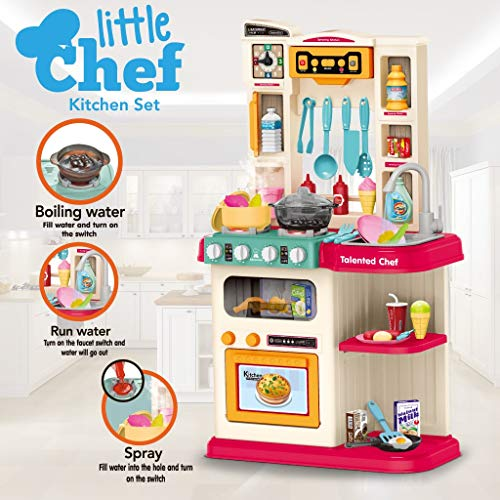 C/C 【U.S. Shipping】 Role Play Kids Kitchen, Playset with Realistic Lights & Sounds | Kids Kitchen Playset & Kitchen Accessories Set with Real Cooking Spray and Water Boiling Sounds, Fun with Friends