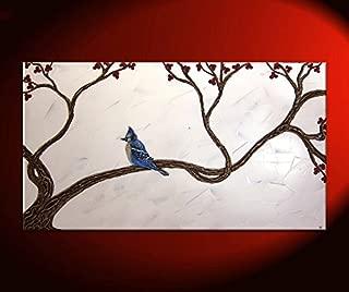 Blue Jay Painting Three Dimensional Sculpted Art Original Artwork Blue Bird Home Decor