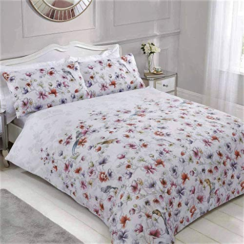 Sleepdown Summer Breeze Pretty Floral Birds White Geometric Abstract Reversible Easy Care Duvet Cover Quilt Bedding Set with Pillowcase - Single (135cm x 200cm)