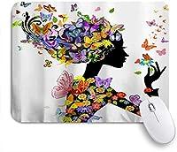 NINEHASA 可愛いマウスパッド 花を楽しむカラフルな蝶の妖精の女の子夏のファンタジー ノンスリップゴムバッキングコンピューターマウスパッドノートブックマウスマット