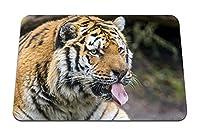 26cmx21cm マウスパッド (虎捕食者顔突き出る舌) パターンカスタムの マウスパッド