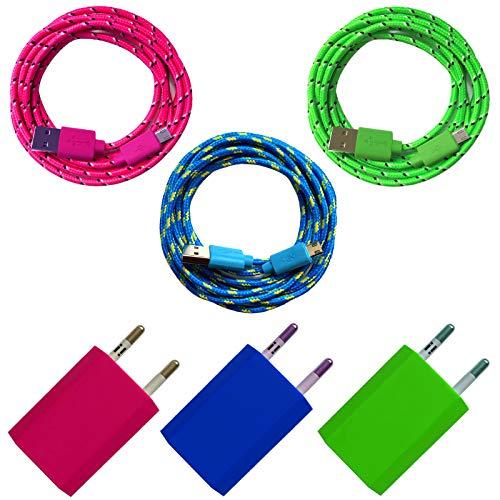 i! - Oplader + nylon micro USB-oplaadkabel datakabel set voor mobiele telefoon tablet smartphone - kleurrijk 3x 1m blau + grün + pink