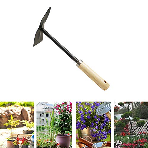DIYARTS Wooden Metal Garden Hoes, Carbon Steel Pickaxe - Heavy Duty for loosening Soil, Weeding and Digging Rust Proof