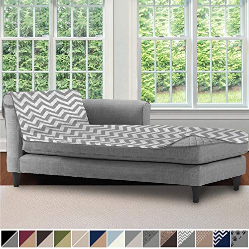 Sofa Shield Original Patent Pending Reversible Sofa Chaise Protector, 102x34 Inch, Washable Furniture Protector, 2 Inch Strap, Chaise Lounge Slip Cover for Pets, Dogs, Kids, Cats, Chevron Gray