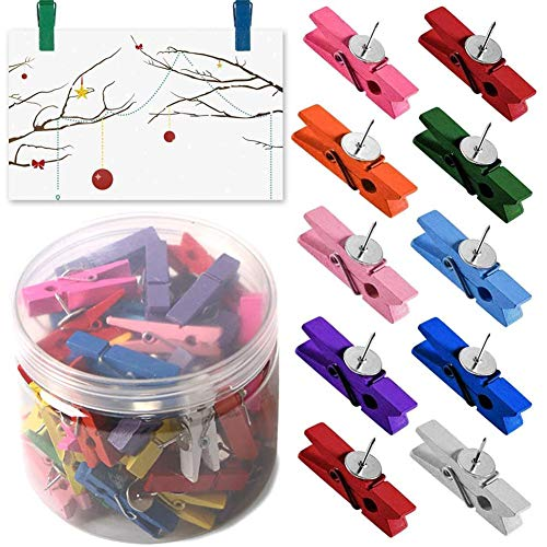 Push Pin Clips - 60 Pack Wooden Colorful Cute Pushpins Tacks Thumbtacks for Photo,Note,Cork Boards Artworks or Craft Projects