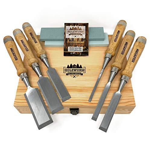 HOLZWURM Jeu de ciseaux a bois professionnels, jeu de 6 Ciseau à bois avec pierre à aiguiser, instructions (EN) d'affûtage et coffret en bois