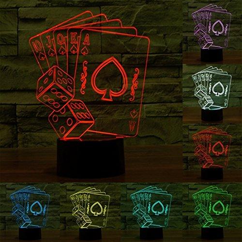 L-sister Tamaño del Producto: 20.2 x 15.5 x 8,7 CM, Estilo póker USB Carga 7 Coloración Decoloración Creativa Visual Stereofony Lámpara 3D Toque Interruptor Control LED Luz de Escritorio