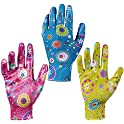 3-Pairs of Breathable Nitrile Coated Gardening Gloves for Women