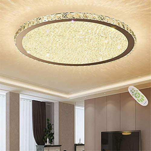 YUPIN Moderne LED Plafondlamp K9 Kristal RVS Lamp Inbouw Verlichting Afstandsbediening Dimbare armatuur voor Kantoor/Eetkamer, Slaapkamer, Woonkamer [Energie Klasse A++]