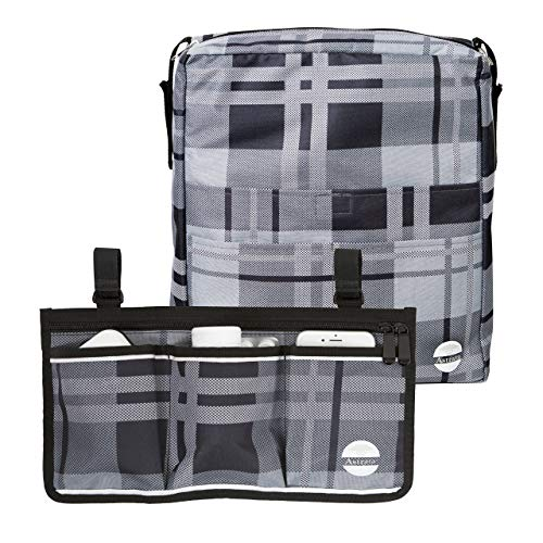 Two Bags Wheelchair Accessories by Astrata - Backpack Storage and Armrest Side Organizer - Lightweight Wheelchair Rollator Walker Bag - Organizers and Storage Travel Items (Gray Tartan)