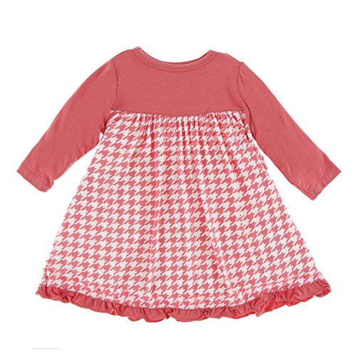 Kickee Pants Little Girls Print Classic Long Sleeve Swing Dress, English Rose Houndstooth, 3T