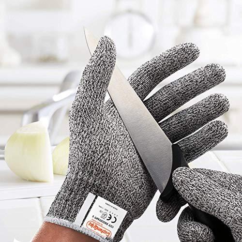 CustomGrips Schnittfeste Handschuhe, Stufe 5, höchste Schutzsicherheitshandschuhe, Lebensmittelqualität, hohe Leistung zum Schneiden von Fleisch, Austern und Küchenarbeiten [groß, 2 Paar]
