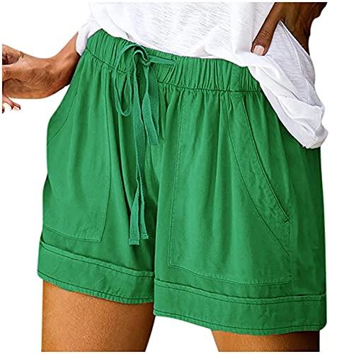 WINTOM Yoga Hosen Damen Hippie Kurze Hosen Damen High Waist Baumwolle Shorts Schlafanzughose Sweatpants Women Baggy Kurze Hose Damen Knielang