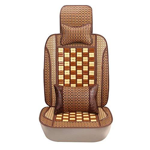 GJHK Cojín de asiento de coche hecho a mano de bambú Cool Pad transpirable, fila delantera 1 funda de asiento, 2 colores 3 estilos (color: A, tamaño: 1)
