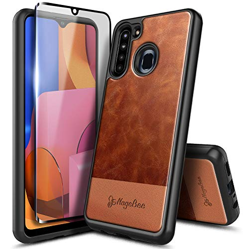 E-Began Case for Samsung Galaxy A21 with Tempered Glass Screen Protector (Full Coverage), Premium Cowhide Leather Hybrid Defender Shockproof Rugged Durable Cover Phone Case -Brown