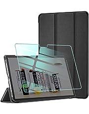AROYI Funda y Protector de Pantalla Compatible con Samsung Galaxy Tab A7 10.4 2020(T505/T500/T507) Funda Tríptica Smart Cover con Auto Sueño Estela, Carcasa Ligera con Soporte Función (Negro)