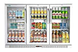 KoolMore 3 Door Stainless Steel Back Bar Cooler Counter Height Glass Door Refrigerator with LED Lighting - 11 cu.ft (BC-3DSW-SS)
