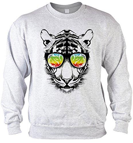 Goodman Design ® Herren Sweater mit Motiv: Retro Tiger mit Sonnenbrille - Katzenmotiv - Geschenk - Pullover, Pulli - Farbe: grau