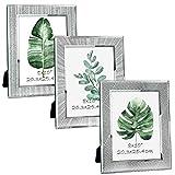Giftgarden Marco de Fotos 20x25 de Vidrio, Portafotos Multiples de Cristal para la Mesa, con Diseño Original y Moderno del Borde, Set de 3