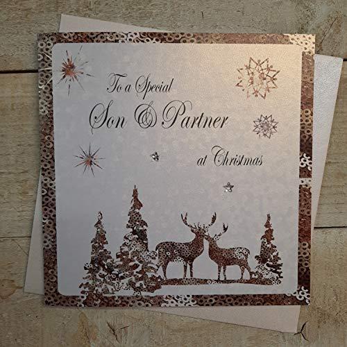 White Cotton Cards - Tarjeta de Navidad hecha a mano, diseño de niño y pareja