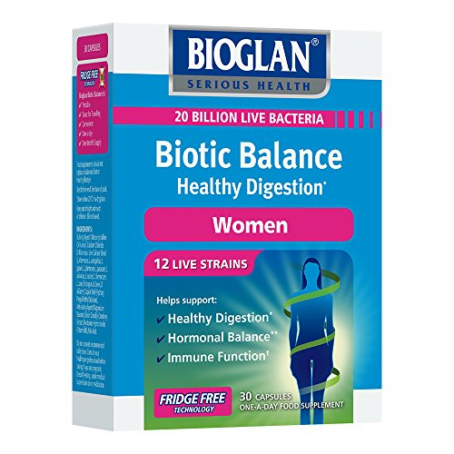 Bioglan Biotic Balance Healthy Digestion for Women, Probiotic, contains 20 billion CFU live bacteria with Folic Acid, Vitamin B6, helps support healthy digestion, one month supply – 30 capsules