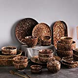 WDSWBEH Kombiservice Steingut (Keramik) 38 Stück Geschirrset Service für 8 Pers. Braune-Schokolade-Serie