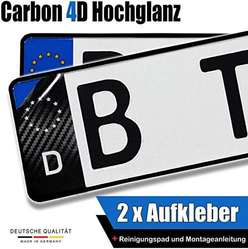Dr.Shield 2X Carbon Kennzeichen Aufkleber Nummernschild Sticker EU-Feld Komplett-Set inkl. Anleitung und Reinigungspad