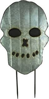 """Large 26""""Galvanized Metal Scary Skull Yard Stake - Spooky Halloween Decoration - Front Yard Lawn Decoration, Garden and Walkway Metal Decor - A Haunted House Prop For Trick Or Treaters."""