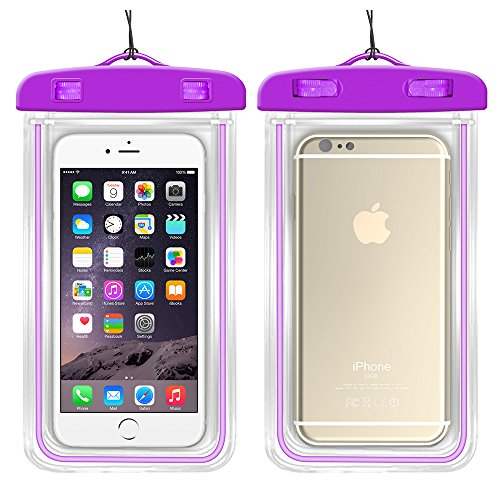Universal Waterproof Case Bag for Apple iPhone 6s, 6 Plus, Samsung Galaxy S6 Edge. Best Water Proof, Dust Dirt Proof, Snowproof Pouch for Cell Phone up to 6 inches (purple)