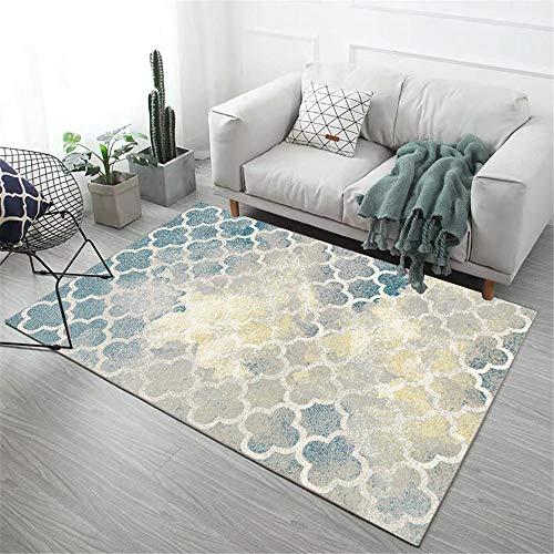 DJHWWD Vloerkleed, anti-dirty tapijt, geometrisch grijs patroon, anti-vuil- en anti-slip, slaapkamertapijt, zacht vloerkleed, mooi frisse geometrische stijl, voor in de woonkamer