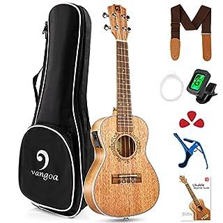 scheda vangoa elettroacustico ukulele concerto 23 pollici con equalizzatore a 2 bande, borsa per il trasporto, pratici kit per principianti