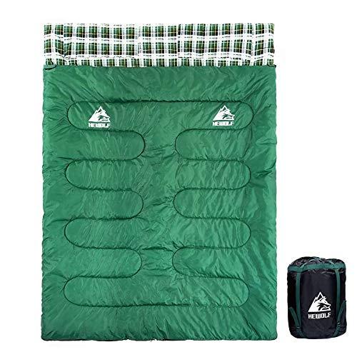 HEWOLF Doppelte Schlafsäcke Leichte Große Deckenschlafsäcke Baumwolle Doppelschlafsack Erwachsene Camping Rechteckiger Schlafsack mit Kompressionssack - Grün 2.4KG im Frühling Sommer