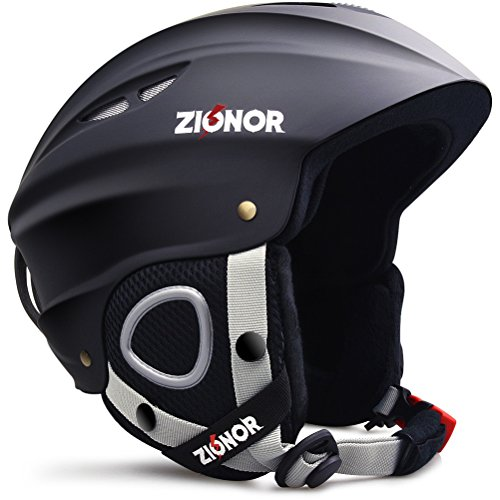 ZIONOR Lagopus H1 Ski Snowboard Helmet for Men Women - Air Flow Control Adjustable Fit Black (Medium)