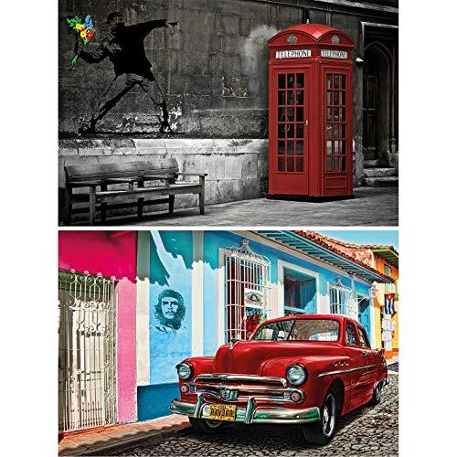 GREAT ART 2er Set XXL Poster – Banksy Graffiti & Havanna Illustration – Blumenwerfer Oldtimer Che Guevara Urbane Straßenkunst Wand-Bild Dekoration Foto Wanddeko (140 x 100cm)