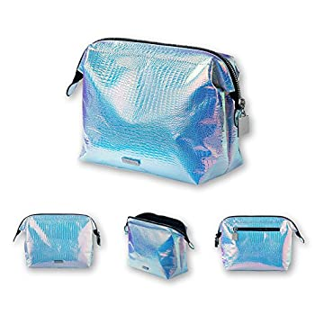 Holographic makeup bag Cosmetic Shiny Rainbow pouch Portable Handle bag Colorful Laser Iridescent...