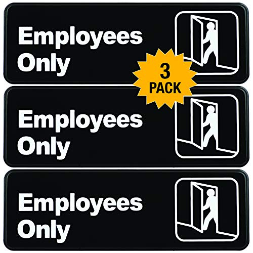 "Employees Only Sign: Easy to Mount Informative Plastic Sign with Symbols 9""x3"", Pack of 3 (Brown)"