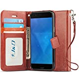J&D Case Compatible for OnePlus 5 Case, [Wallet Stand] [Slim Fit] Heavy Duty Protective Shock Resistant Flip Cover Wallet Case for OnePlus 5 Wallet Case - Brown