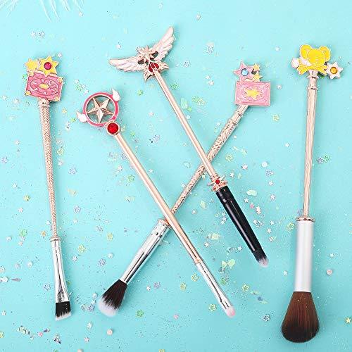 AHEFA5 Pièce Rose Or Brosses De Maquillage Ensemble Sailor Moon Brosse Anime Baguettes Cardcaptor Sakura Fard À Paupières Poudre Brosse Kits
