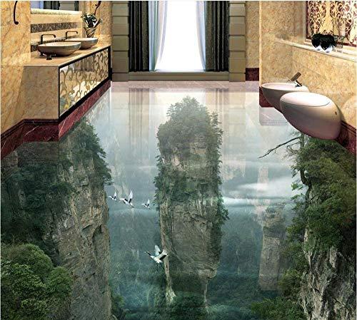 Rutschfester 3D-Pvc-Bodenbenutzerdefinierte 3D Malerei Boden Tapete Pvc Klebstoff Peak Cliff Wohnzimmer Badezimmer 3D Boden Malerei Moderne Aufkleber 3D Floor-430 * 300 Cm