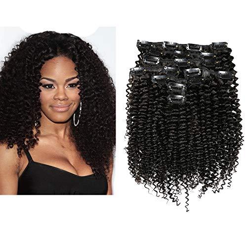 Mila 20inch/50cm Extensions à Clips Crépues Kinky Curly 100% Humain Cheveux Bresilienne Vierge 7pc Meches 120gram/set Naturel Noir 1B