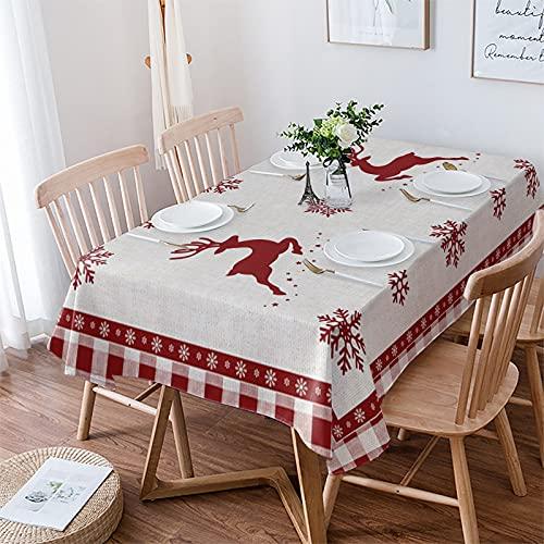Manteles de lino de algodón para mesas rectangulares de 60 x 84 pulgadas, impermeables para mesa de comedor, buffet fiestas y camping, Navidad granja alce bosque copo de nieve en cuadros rojos