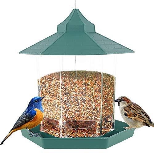 バードフィーダー 野鳥 餌台 屋根 付き 吊下げ 餌場 えさ台 鳥小屋 鳥かご 鳥 餌入れ バードウォッチング 小鳥 鳩 野鳥観察 おしゃれ 庭 ガーデン (グリンー)