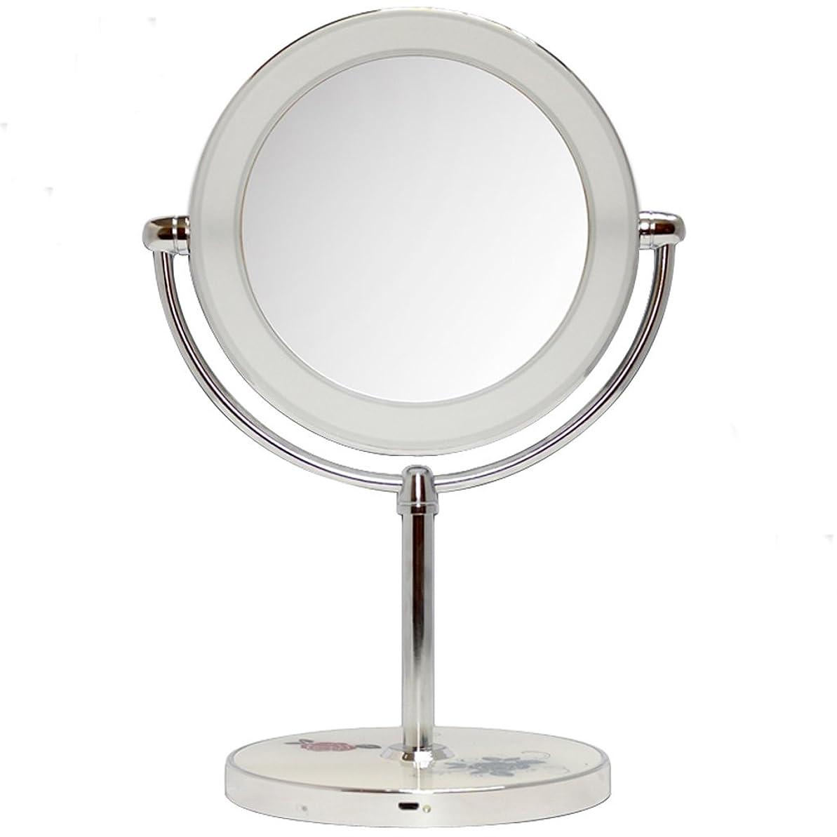 評判後ろ、背後、背面(部飲食店HZDXT ミラードレッシング両面デスクスタイルミラー付きAランプメイクアップミラー10タイムズ拡大鏡 (Color : Silver)