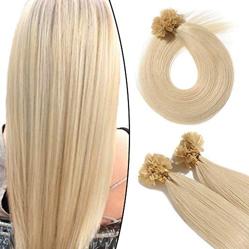 Echthaar Extensions Bondings Remy Haarverlängerung Keratin Bonding 100 Strähnen 40cm (platinblond 60)