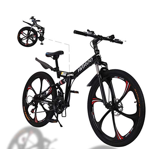 MTFITNESS 2020 New 26 Inch Folding Bike, Mountain Bike with 6 Spoke Wheels and 21 Speed Shimano Shifter, Full Suspension Anti-Slip Bicycle for Adult Teens Black