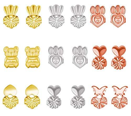 DTMEFJ Earring Lifters, Ryer Earring Backs, 16 Pairs Backs for Earrings Adjustable Secure Earring Lifts Safety Drooping Earring Backs for Ear Lobe Lifter,Adjustable Hypoallergenic Earring Lifters