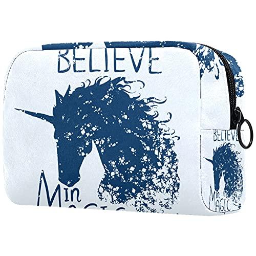 FURINKAZAN Belive In Magic Unicorn Horse Bolsa de maquillaje para artículos de tocador, bolsa de maquillaje para hombres y mujeres