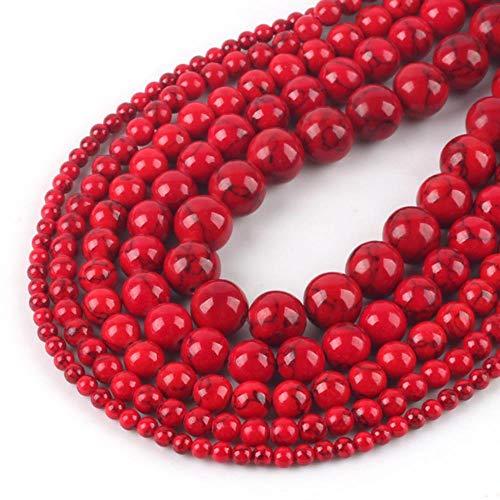 Cuentas sueltas redondas de turquesas de Howlita rojas naturales 4/6/8/10/12 mm para joyería g pulsera Fit Diy Charm Beads Wholesale-Red, 6mm 61pcs cuentas