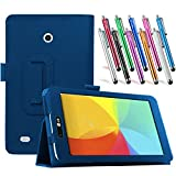 LG G Pad 7.0 Leather Case, TDA(TM) Slim Folding PU Leather Cover Case with Auto Sleep/Wake Feature for LG G Pad V400/V410 (LTE)/VK410/UK410/LK430 (G Pad F7.0) 7 Inch Tablet + 1 Stylus Pen (Dark Blue)